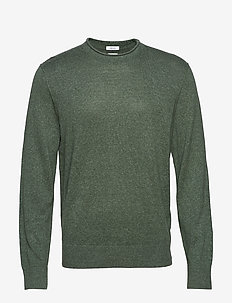 Crewneck Sweater in Linen-Cotton - basic knitwear - cool olive