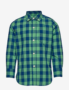 Kids Plaid Poplin Shirt - GREEN/ BLUE PLAID