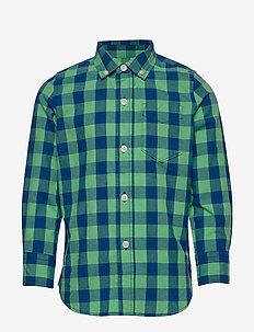 Kids Plaid Poplin Shirt - chemises - green/ blue plaid