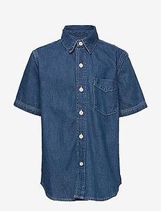 Kids Short Sleeve Denim Shirt - chemises - medium wash