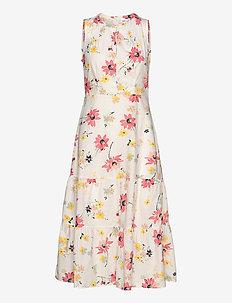 Sleeveless Midi Dress - robes longeur du midi - white floral print