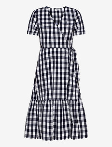 Gingham Wrap Midi Dress - wrap dresses - navy gingham