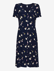Button-Front Midi Dress - midiklänningar - blue multi floral