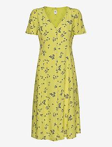 Button-Front Midi Dress - do kolan & midi sukienki - mini yellow floral