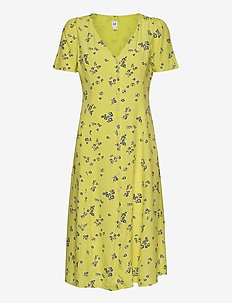 Button-Front Midi Dress - robes longeur du midi - mini yellow floral