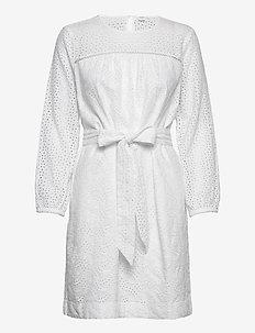 Eyelet Tie-Belt Dress - short dresses - optic white 3
