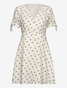 Tie-Sleeve Dress - WHITE FLORAL PRINT