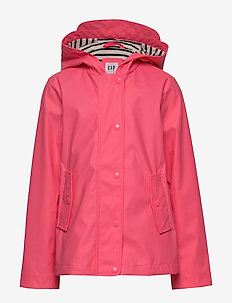 Kids Jersey-Lined Raincoat - kurtki - pink pop neon