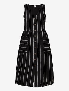 Button-Front Midi Dress - midiklänningar - black stripe