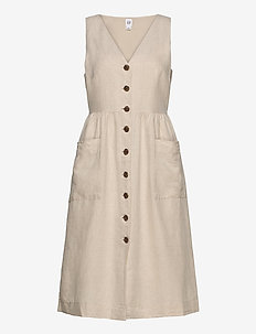 Button-Front Midi Dress - midiklänningar - flax linen