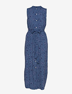 Sleeveless Maxi Shirtdress - BLUE FLORAL