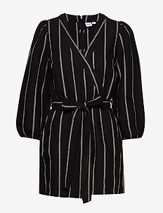 Puff Sleeve V-Neck Romper - jumpsuits - black stripe