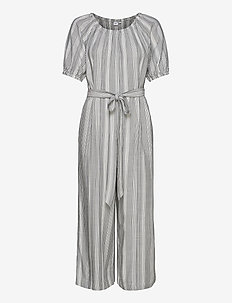 Puff-Sleeve Jumpsuit - buksedragter - black stripe