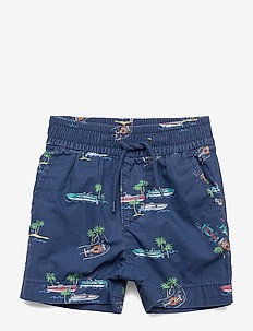 Toddler Print Poplin Pull-On Shorts - BLUE SHADE