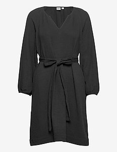 Split Neck Gauze Dress - wrap dresses - true black v2