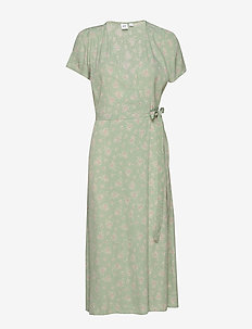 Midi Wrap Dress - wrap dresses - green print combo a