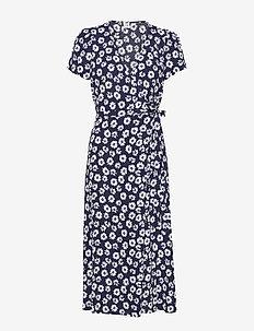 Midi Wrap Dress - omlottklänning - navy floral