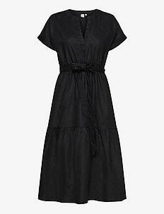 Linen-Cotton Ruffle Midi Dress - robes longeur du midi - true black v2 2