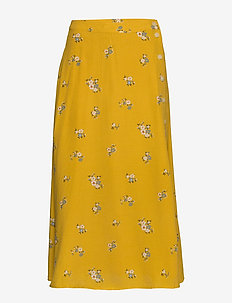 Floral Side-Button Midi Skirt - jupes longues - mini yellow floral