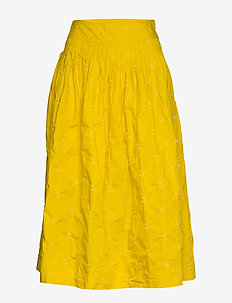 Embroided Midi Skirt in Poplin - midi skirts - mustard