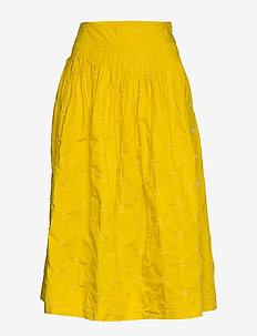 Embroided Midi Skirt in Poplin - jupes midi - mustard
