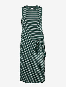 Softspun Tie-Front Midi Dress - wrap dresses - green stripe-combo e