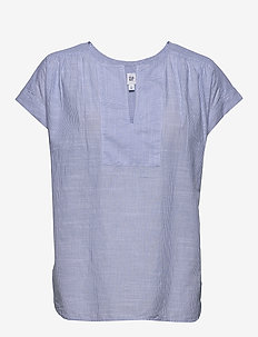 Short Sleeve Popover Top - BLUE PINSTRIPE