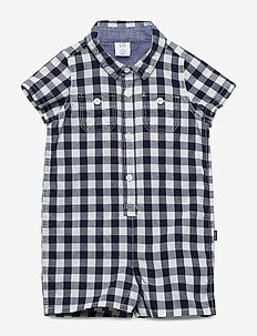 Baby Gingham Shorty One-Piece - NAVY UNIFORM