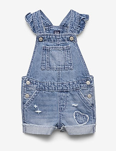 Toddler Denim Ruffle Overalls - overalls - medium wash