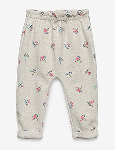 Ruffle Floral Pants - LIGHT HEATHER GREY B08