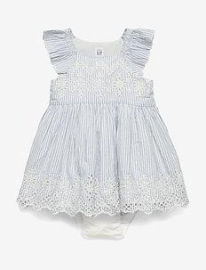 Baby Eyelet Flutter Dress - MOONSTONE BLUE