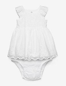 Baby Eyelet Flutter Dress - OPTIC WHITE