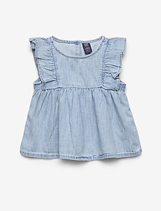 Baby Ruffle Denim Top - zonder mouwen - light wash