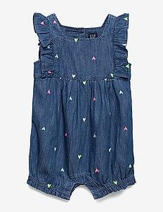Baby Gap Ruffle Denim One-Piece - short-sleeved - medium wash