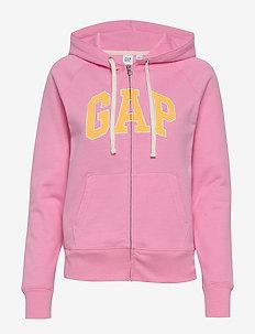 Gap Logo Full-Zip Hoodie - hættetrøjer - parisian pink