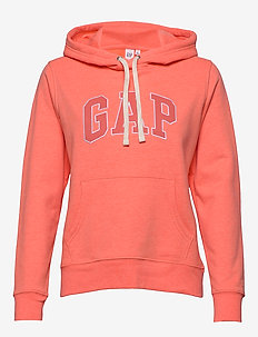 Gap Logo Carbonized  Pullover Hoodie - NEON CORAL FLAME
