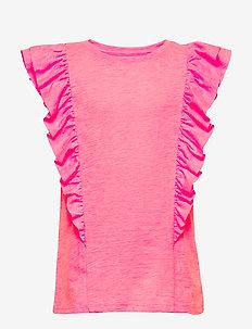 Kids Cascade Ruffle T-Shirt - Ærmeløse - neon impulsive pink