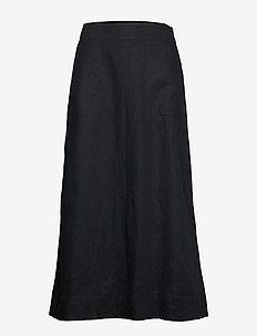 LINEN FLARE MAXI SKIRT - maxi nederdele - true black v2 3