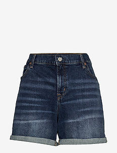 "5"" Mid Rise Denim Shorts - denim shorts - dark indigo v2"