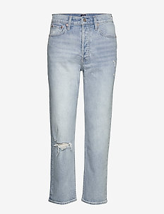 High Rise Distressed Cheeky Straight Jeans - LIGHT INDIGO DESTROY