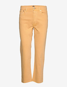 High Rise Cheeky Straight Jeans with Raw Hem - ORANGE NECTAR 660