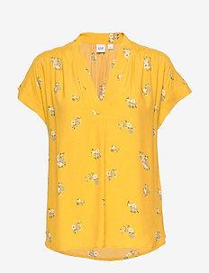 Short Sleeve Popover Top - blouses à manches courtes - mini yellow floral