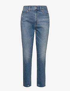 High Rise Distressed Cigarette Jeans - mom jeans - dark indigo 4