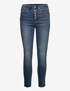 High Rise True Skinny Ankle Jeans with Secret Smoothing - slim jeans - medium indigo 8