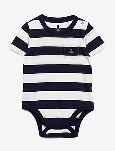 Baby Brannan Bear Stripe Bodysuit - korte mouwen - navy uniform