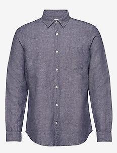 Long Sleeve Shirt in Linen-Cotton - chemises basiques - military blue