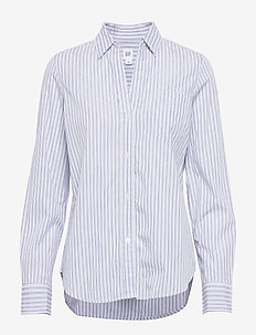 FITTED BOYFRIEND - LUREX - langærmede skjorter - blue stripe