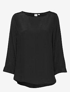 Button-Shoulder Boatneck Top - TRUE BLACK