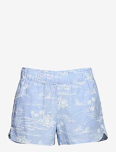 Print Shorts in Poplin - shorts - blue hawaiian floral