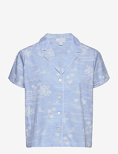 PJ Shirt in Poplin - tops - blue hawaiian floral